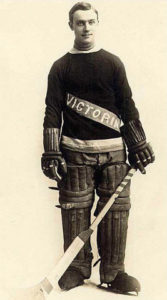 Bert Lindsay in goalie uniform of Victoria Aristocrats 1911-1915