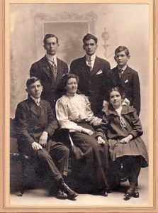 Sarah Coulter Holtby family, c. 1912, Saskatoon, Saskatchewan standing - Norman Holtby, Edgar Holtby, Hilton Holtby. Seated - Cecil Holtby, Sarah Coulter Holtby and Hazel Holtby.