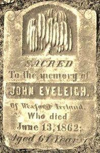 Tombstone of John Eveleigh Woodlawn Cemetry, Listowel, Ontario