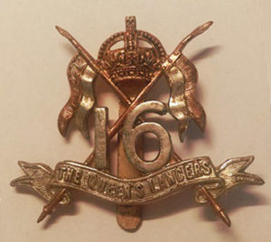 Cap badge of Edward Brittain's regiment, 16th Queen's Lancer