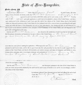 Thomas William Parkinson: 1876 US citizenship